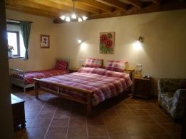 Rez-de-chaussée - chambre 1 - 1 lit 180x200 et 1 lit 90x190 - accessible pour les personnes à mobilité réduite (salle de bain privé douche italienne)